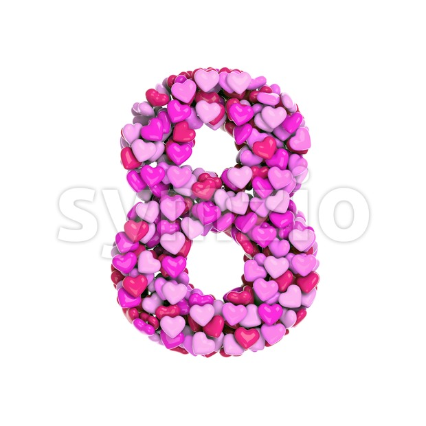 Valentine digit 8 - 3d number Stock Photo