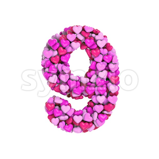 Valentine number 9 - 3d digit Stock Photo