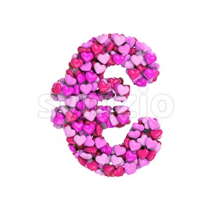 Valentine euro currency sign - 3d business symbol Stock Photo