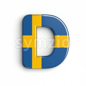 swedish flag font D - Capital 3d character Stock Photo