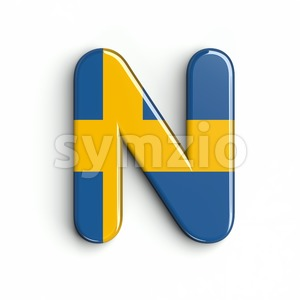 swedish flag font N - Capital 3d letter Stock Photo