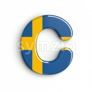 3d sweden font C - Capital 3d letter Stock Photo