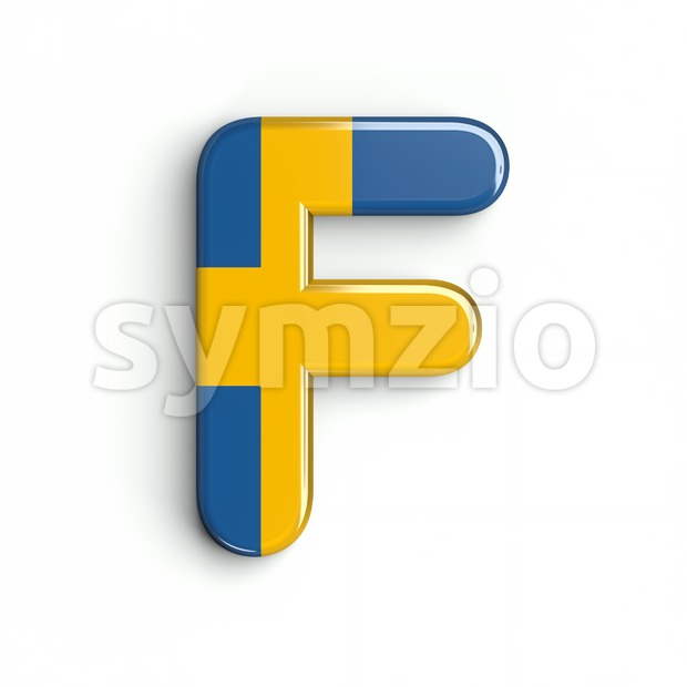sweden letter F - Upper-case 3d font Stock Photo