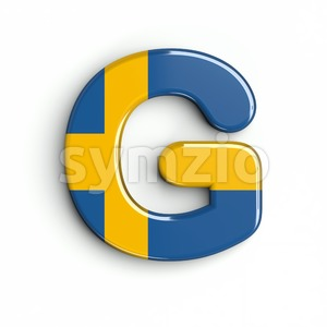 Upper-case sweden character G - Capital 3d font Stock Photo