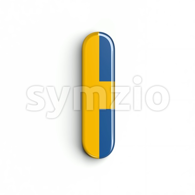 Uppercase swedish flag font I - Capital 3d letter Stock Photo