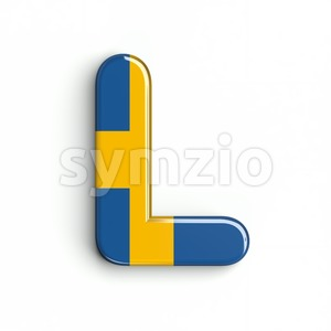 swedish flag font L - Capital 3d character Stock Photo