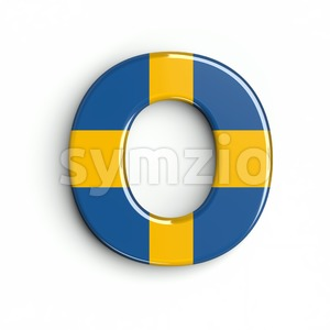 3d Upper-case letter O covered in sweden texture Stock Photo