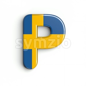 Upper-case swedish flag character P - Capital 3d font Stock Photo