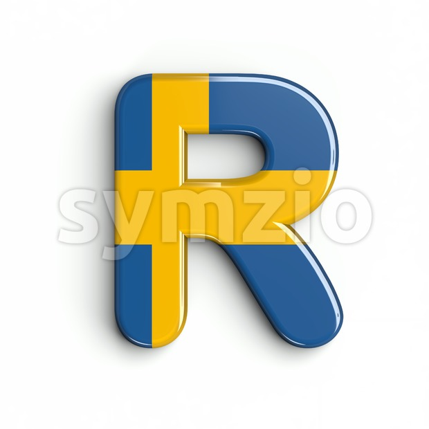 swedish flag letter R - Uppercase 3d font Stock Photo