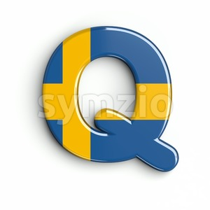 swedish flag font Q - Upper-case 3d character Stock Photo