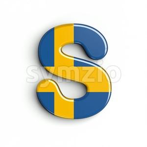 sweden font S - Uppercase 3d letter Stock Photo