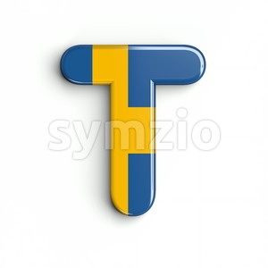sweden national flag character T - Uppercase 3d letter Stock Photo