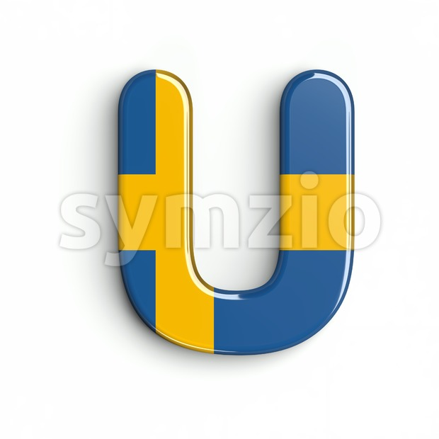 sweden letter U - Capital 3d font Stock Photo