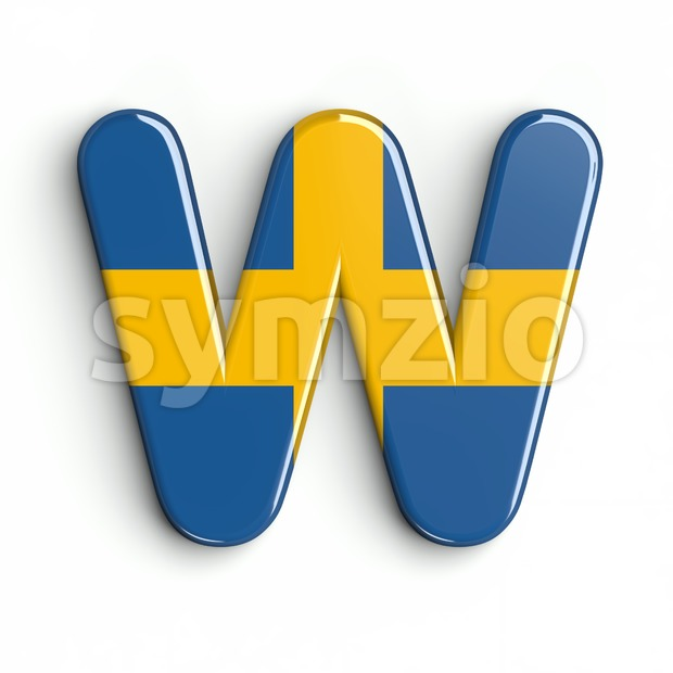 sweden national flag font W - Capital 3d letter Stock Photo