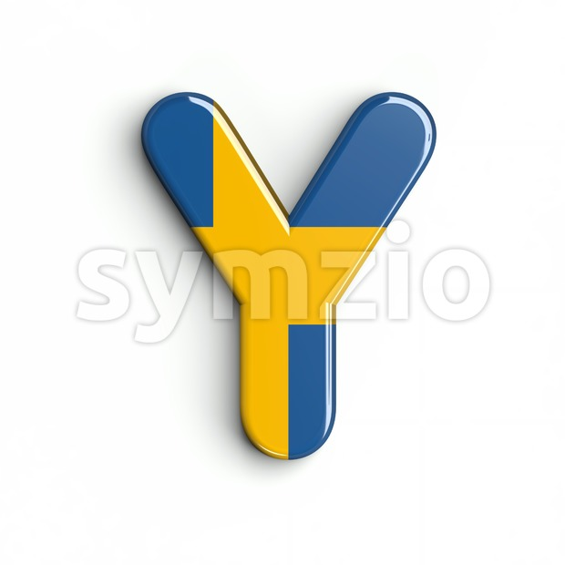 Upper-case sweden font Y - Capital 3d character Stock Photo