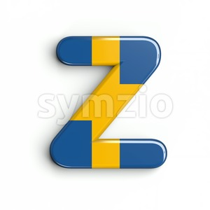 swedish flag alphabet letter Z - Upper-case 3d font Stock Photo