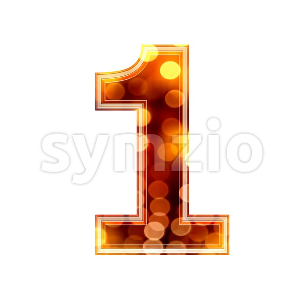 glowing lights number 1 - 3d digit Stock Photo