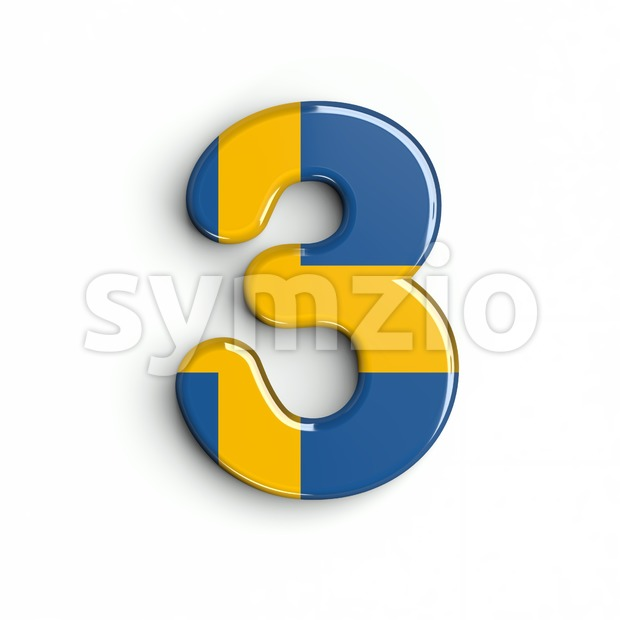 sweden number 3 - 3d digit Stock Photo
