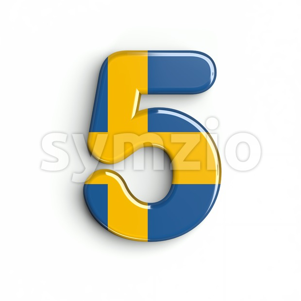 sweden number 5 - 3d digit Stock Photo