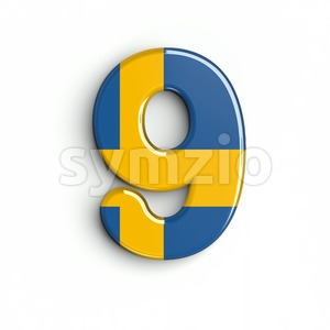 sweden number 9 - 3d digit Stock Photo