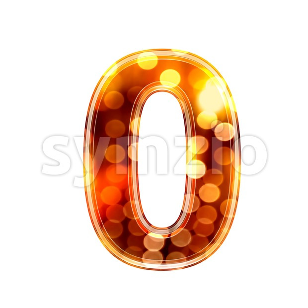 glowing lights number 0 - 3d digit Stock Photo