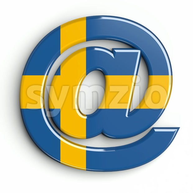 sweden at-sign - 3d arobase symbol Stock Photo