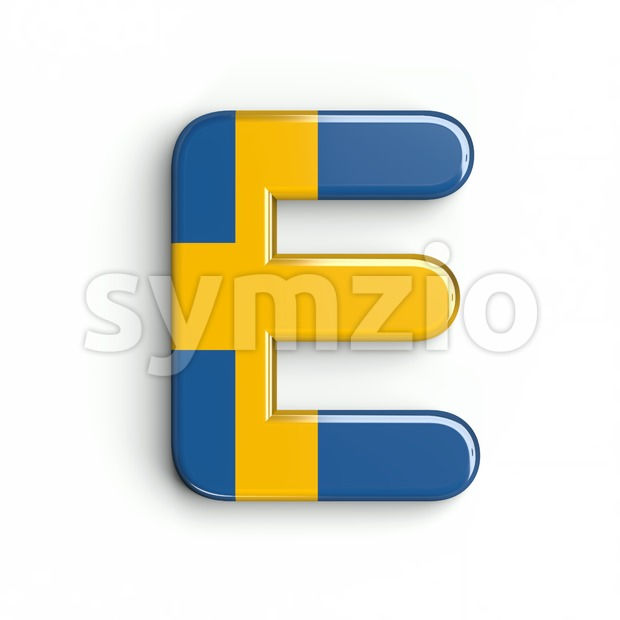 swedish flag character E - Capital 3d letter Stock Photo