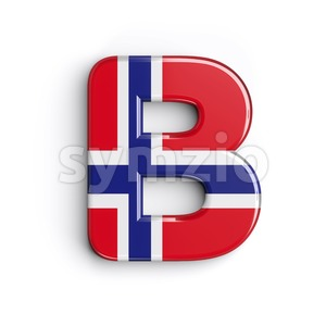 Capital Norway national flag letter B - Upper-case 3d font Stock Photo
