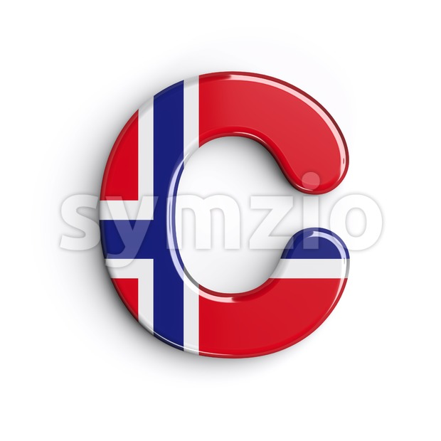 3d Norway font C - Capital 3d letter Stock Photo