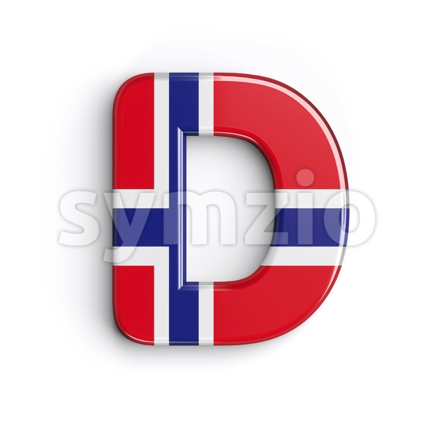 norwegian flag font D - Capital 3d character Stock Photo