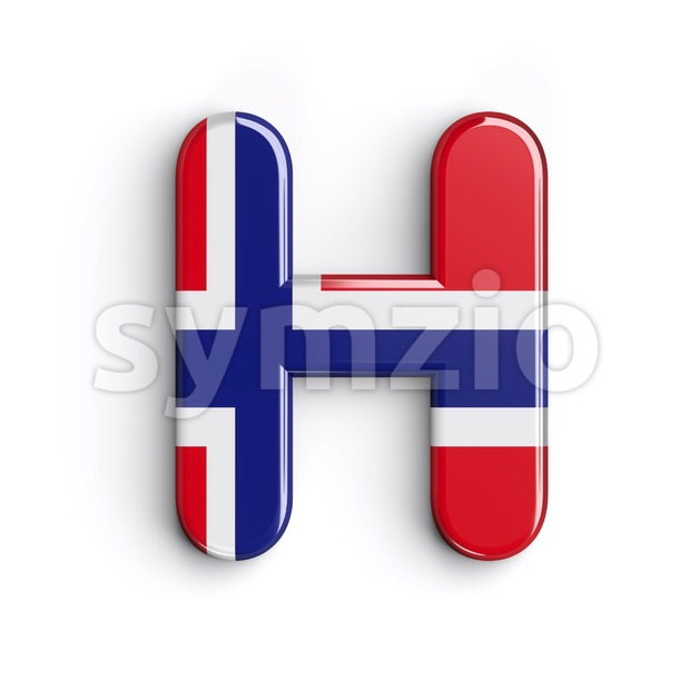 Norway 3d letter H - Upper-case 3d character Stock Photo