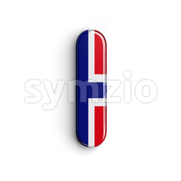 Uppercase norwegian flag font I - Capital 3d letter Stock Photo