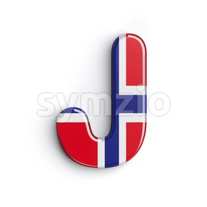 Norway national flag font J - Uppercase 3d character Stock Photo