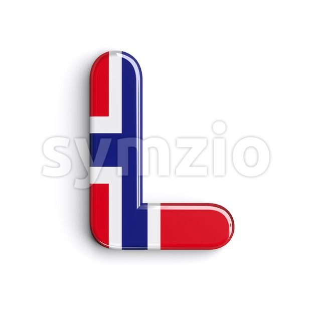 norwegian flag font L - Capital 3d character Stock Photo