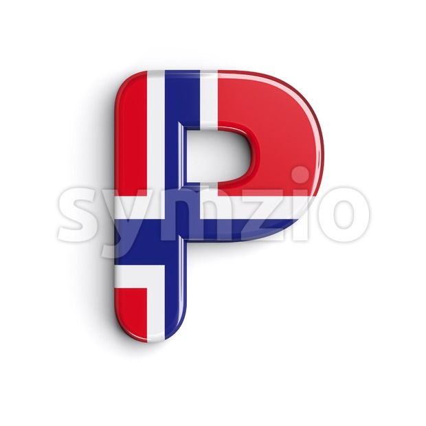 Upper-case norwegian flag character P