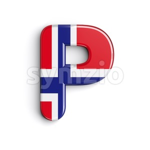 Upper-case norwegian flag character P - Capital 3d font Stock Photo