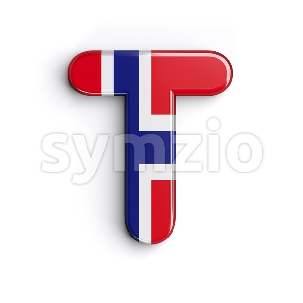 Norway national flag character T - Uppercase 3d letter Stock Photo