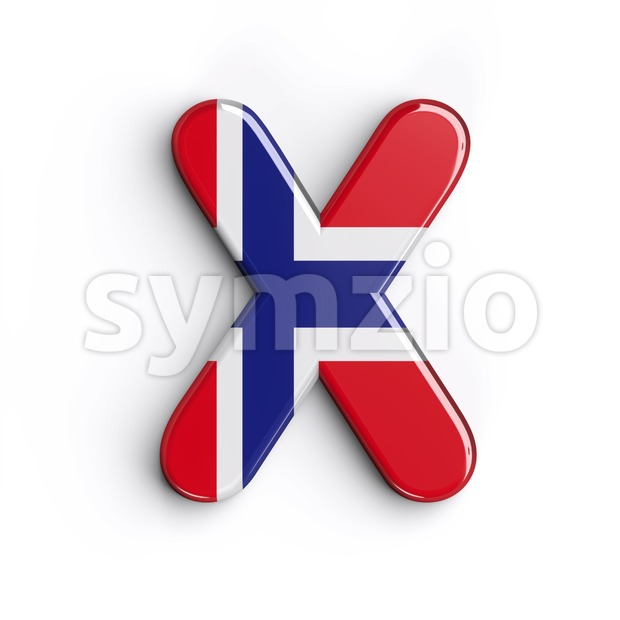 norwegian flag character X - Upper-case 3d letter Stock Photo