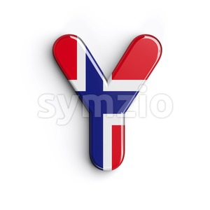 Upper-case Norway font Y - Capital 3d character Stock Photo