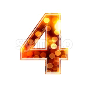 glowing lights digit 4 - 3d number Stock Photo