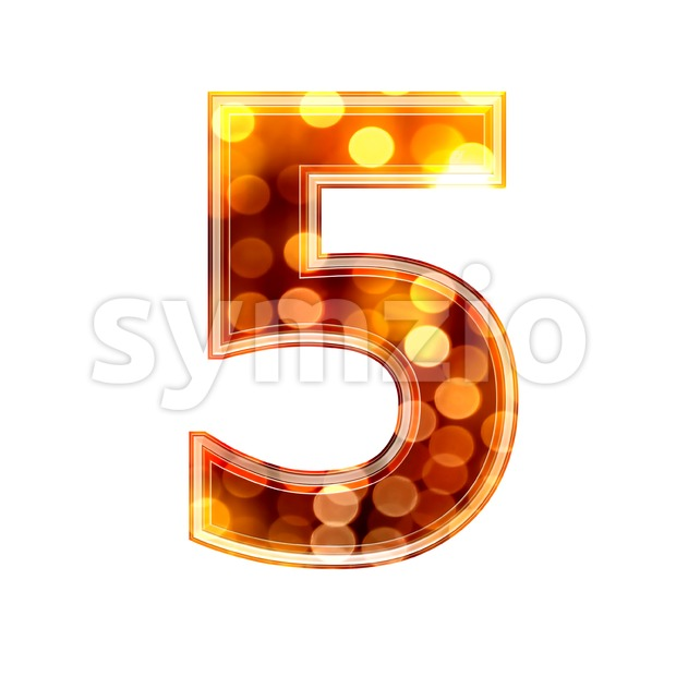 glowing lights number 5 - 3d digit Stock Photo