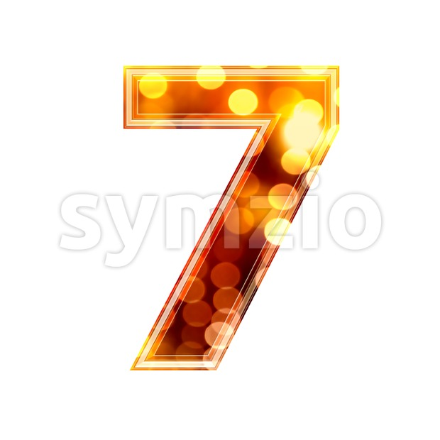glowing lights number 7 - 3d digit Stock Photo