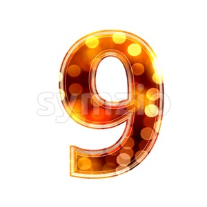 glowing lights number 9 - 3d digit Stock Photo