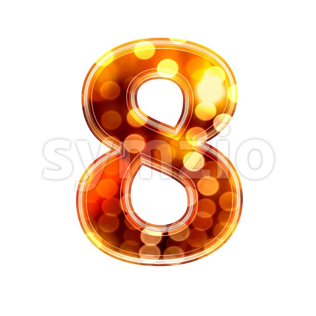 glowing lights digit 8 - 3d number Stock Photo