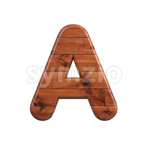 wooden letter A - Capital 3d character Stock Photo
