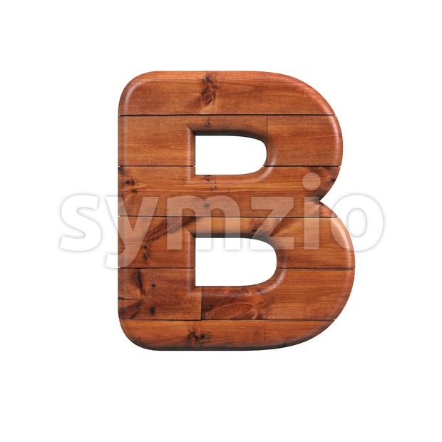 Capital Wooden parquet letter B - Upper-case 3d font Stock Photo