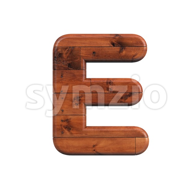 wood plank character E - Capital 3d letter Stock Photo