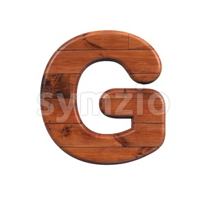 Upper-case wooden character G - Capital 3d font Stock Photo