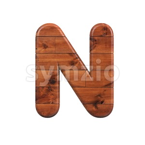 wood font N - Capital 3d letter Stock Photo