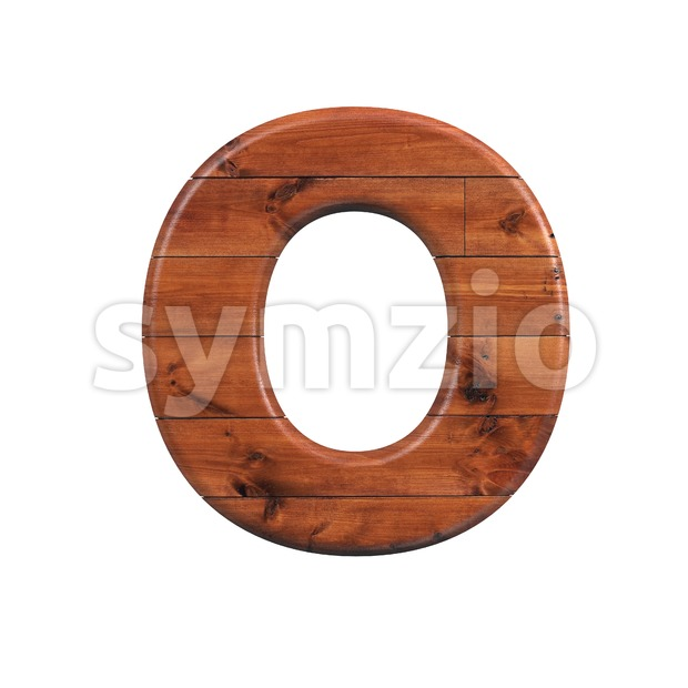 3d Upper-case letter O covered in wooden texture